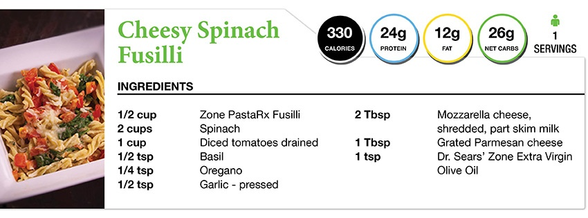 Zone Diet Cheesy Spinach Fusilli Recipe