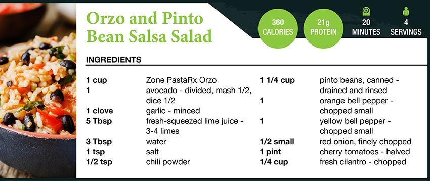 Zone Orzo and Pinto Bean Salsa Salad