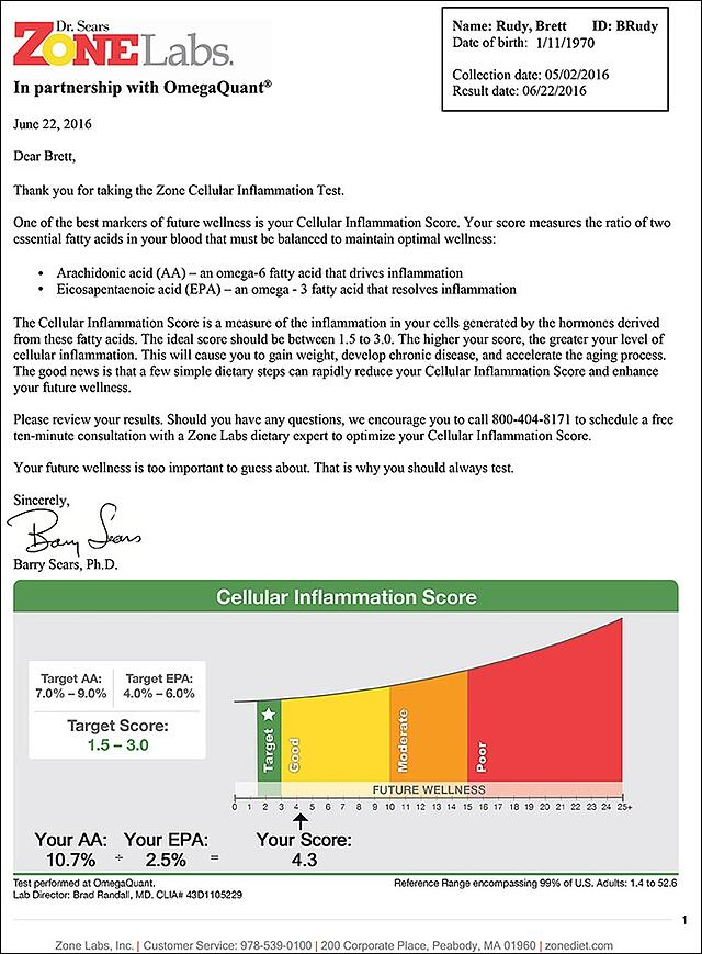 Zone Cellular Inflammation Score Results Report Sample