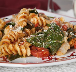 Fusilli with Spinach and Tomato