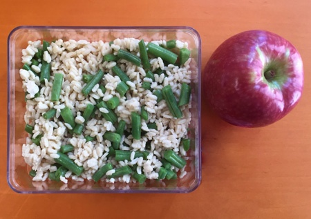 Zone Orzo lunch with an apple