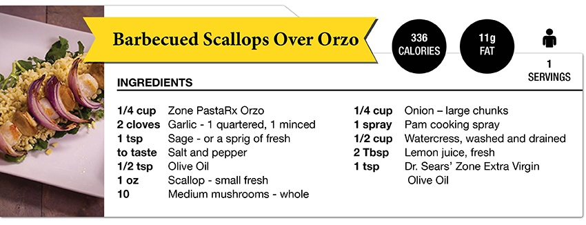 Zone Diet BBQScallop Over Orzo