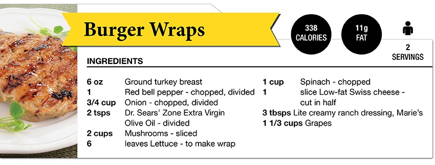 Zone Diet Burger Wraps