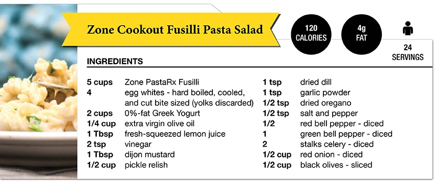 Zone Diet Fusilli Pasta Salad