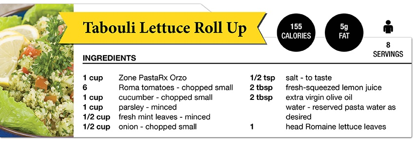 Zone DIet Tabouli Lettuce Roll Up